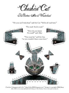 PaperToy_Disney - Cheshire Cat Alice in Wonderland Cat Crafts, Crafts For Kids, Cat Template, Printable Templates, Disney Wedding Invitations, Chat 3d, Chesire Cat, Were All Mad Here, Alice In Wonderland Party