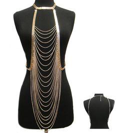 Diva Glam Choker Body Chain Necklace by impressionofadiva on Etsy, $49.99