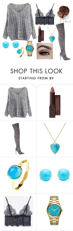 """""""Carli Bybel inspired"""" by serenathyme on Polyvore featuring Mode, Burt's Bees, Gianvito Rossi, Jennifer Meyer Jewelry, Irene Neuwirth, Michael Kors, suede, grey, turquoise und carlibybel"""