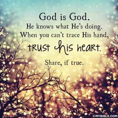 God knows what He is doing. Trust His heart.   https://www.facebook.com/109768529062766/photos/729625473743732
