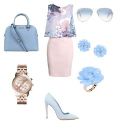 """Blue day"" by alexandragabriela2 on Polyvore featuring Boohoo, Dee Keller, Michael Kors, Ray-Ban and Dettagli"