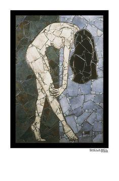 Modern Home Decor Nude Art Print Female Nude Artistic Nude Mosaic Tile Art, Mosaic Glass, Stained Glass Designs, Mosaic Designs, Mosaic Projects, Art Projects, Mosaic Portrait, Painting Inspiration, Fine Art Prints