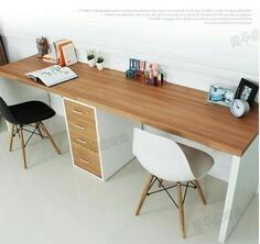 Double long table desk computer desk home desktop computer desk minimalist modern desk with drawers IKEA Long Computer Desk, Desktop Computer Desk, Long Desk, Custom Computer Desk, Computer Build, Home Deco, Double Desk, Ikea Desk, Diy Desk