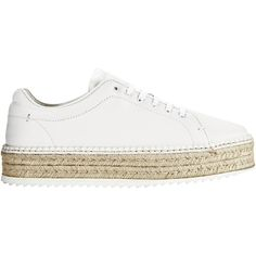 Kent Espadrille Platform Sneakers ($350) ❤ liked on Polyvore featuring shoes, sneakers, white, white platform shoes, leather espadrilles, platform shoes, white lace up sneakers and platform espadrilles