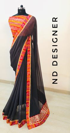 Chiffon SAREES with bhandini border and gotta work and bhandini blouse ! : (VAT Included) For. Chiffon Saree, Georgette Sarees, Saree Blouse, Sari, Plain Saree, Elegant Saree, Saree Collection, Kimono Top, Designer Sarees