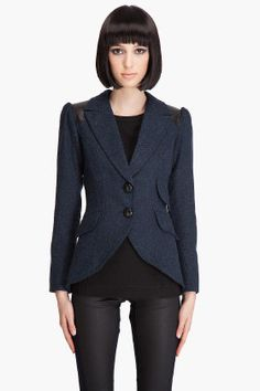 Pouf Sleeve Equestrian Jacket (Wool and leather) by Smythe