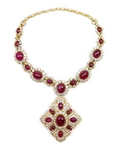 20th century cabochon ruby, diamond and gold collar pendant necklace by Van Cleef & Arpels, Paris c,1970, the necklace converting to two bra...