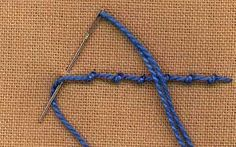 a step by step illustration of how to work coral stitch - part of a full dictionary of stitches