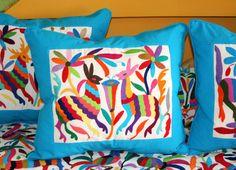 Multi Colored Otomi Pillow Sham Piece with Turquoise Original Tenango