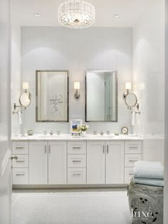 Traditional White Master Bathroom with Glass Wall Tiles