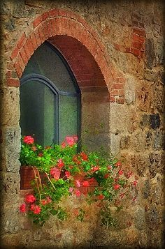 Beautiful old window- Italy    Must add this flavor to yard.