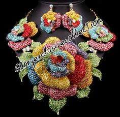 Multicoloured jewelry with earrings. Perfect set for all outfits