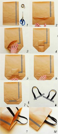 ▷ 1001 + ideas and pictures to make paper bags- ▷ 1001 + Ideen und Bilder zum Thema Papiertüten basteln a step by step diy instructions, a small blue pair of scissors and a hand, a large paper bag made from brown old paper - Diy Gift Bags Paper, Paper Gifts, Diy Bags, Crafts With Paper Bags, Paper Paper, Papier Diy, Business Gifts, How To Make Paper, Handmade Bags