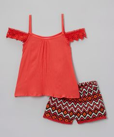 Love this Girls Luv Pink Red Angel-Sleeve Camisole & Shorts - Kids & Tween by Girls Luv Pink on #zulily! #zulilyfinds
