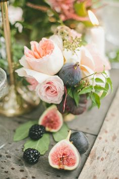 #Figs #WeddingColors | For Wedding Centerpieces... Don't Just Think Flowers! See more on SMP: http://www.StyleMePretty.com/2014/01/30/figs-gold-wedding-inspiration/ Photography: Onelove Photography