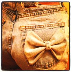 DIY high waisted shorts with denim bow made from scraps :)
