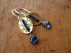 Indigo Blue Gemstone, Brass, & Sterling Silver Earrings