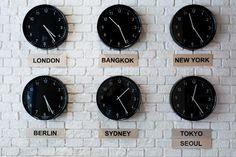 multi city clocks - Picture of The Cube Hostel, Bangkok - Tripadvisor Wall Clock Time Zones, World Clock, Travel Office, Girl Rooms, Rv Living, Autumn Inspiration, Travel Agency, Van Life, Decoration