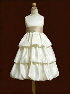 A-line Satin Multi Tiered Bubble flower girl dress FG011