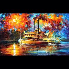 """Oil painting - """"Steam boat"""" ______________________________________________Click on the link in my profile to buy this painting  ______________________________________________ #art #painting #lovely #afremov #art_spotlight #arts_help #artfido #artacademy #artist #sea #ocean #boat #seascape #artS #colorful #colors #instaart #instapic #instacool #instagood #instamood #instaartist"""