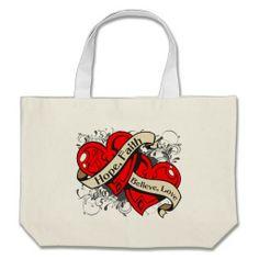 Stroke Hope Faith Dual Hearts Canvas Bags by giftsforawareness.com #StrokeAwareness #StrokeAwarenesstotebags