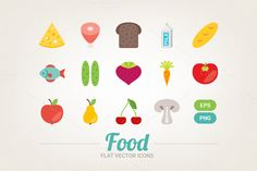 Check out Flat food icons by miumiu on Creative Market