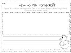 text to self connections freebie to go with Mister Seahorse by Eric Carle