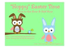 Sweet Easter Owl themed digital and analog clock cards make practicing time to the hour and half hour so much fun. Includes activity suggestions....