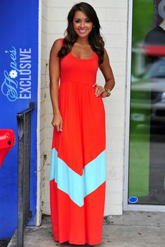 HOPE'S: Chevron Maxi Dress: Red/Aqua | Hope's wonder if I could find an aqua w/ yellow and yellow w/ red and orange w/ aqau