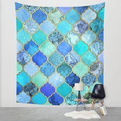 Maybe as a tapestry or print/canvas above the bed? Or as a duvet cover? Cobalt Blue, Aqua & Gold Decorative Moroccan Tile Pattern Wall Tapestry by Micklyn | Society6