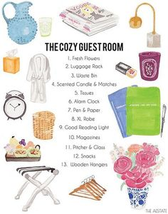 Essentials for a comfortable, welcoming guest room.  I would add: a bedside table.