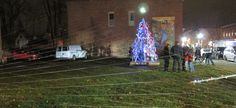 Beacon recycled bicycle Christmas tree. 'Second Saturday' Night on the Town in Beacon, NY.