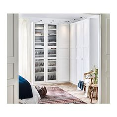 Ikea Pax Corner Home Designs Wardrobe White Tyssedal Glass 0569794 in attachment with category Design Ikea Pax Corner Wardrobe, Bedroom Wardrobe, Large Living Room Furniture, Bedroom Furniture, Office Furniture, Coastal Bedrooms, Trendy Bedroom, Style At Home, Ikea Bedroom