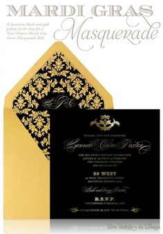 Weddbook is a content discovery engine mostly specialized on wedding concept. You can collect images, videos or articles you discovered  organize them, add your own ideas to your collections and share with other people - White and Gold Wedding. Custom Black and Gold Masquerade Party Sweet 16 Invitation by ECRU Stationery & Design, great for Bat Mitzvah! gold #gold