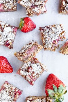 These Strawberry Oatmeal Crumble Bars feature fresh strawberries and an oatmeal crumb crust that doubles as the crumble topping! This quick and easy recipe is gluten-free and vegan.