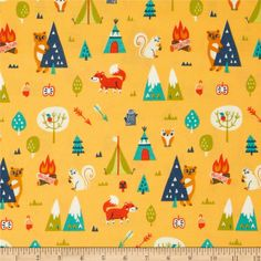 Happy Camper Flannel Camping Trip Orange from @fabricdotcom  Designed by Allison Cole for Camelot Fabrics, this single napped (brushed on one side only) flannel includes colors of orange, blue, yellow, white and green on a light orange background. Use for quilting, crafts and apparel.