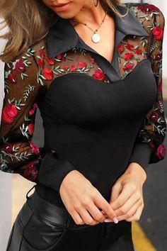 Elegant Paneled Mesh Floral Embroidery See-through Look Blouse - Diorer Trend Fashion, Estilo Fashion, Ideias Fashion, Fashion Outfits, Womens Fashion, Shirt Embroidery, Floral Embroidery, Top Wedding Dresses, Buy Dress