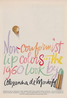 Don't be a make-up conformist! #vintage #ad #makeup #cosmetics #lipstick #1960s #retro