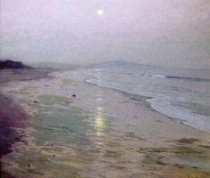 """Moonrise Over the Beach,"" Lowell Birge Harrison, ca. 1913, oil on canvas, 36 x 40"