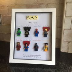 Great for Dad, Son, Nephew, Uncle etc. Diy Father's Day Gifts, Father's Day Diy, Gifts For Dad, Uncle Gifts, Lego Letters, Scrabble Letters, Box Frame Art, Box Frames, Spiderman Craft