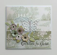 Card flowers punched homemade, Cherry Lynn leaves leaf, butterfly Memorybox pippi butterfly die, doily, Tilda The Seaside Life paper pad - JKE