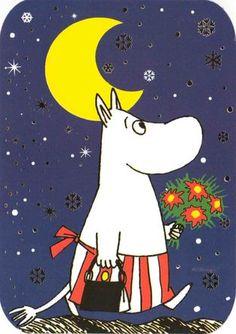 Postcard with Moomin Mamma Moomin Books, Moomin Mugs, Moomin Wallpaper, Tove Jansson, Old Cartoons, Kawaii Art, Silk Painting, Acrylic Art, Cartoon Images