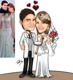 Caricaturas digitais, desenhos animados, ilustração, caricatura realista: Desenho de noivos !!