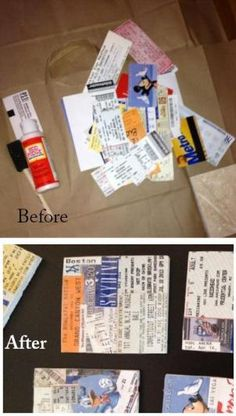 DIY Craft.  Make coasters from your ticket stubs. Only 11 dollars for 9 coasters!