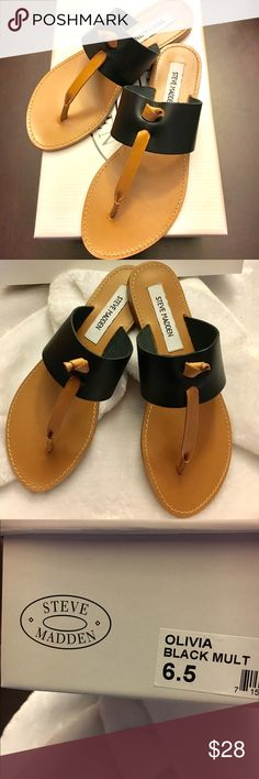 """NIB Steve Madden """"Olivia"""" Sandals - Black Brand new in box Steve Madden """"Olivia"""" Sandals. Simple and sweet, these sandals have a touch of color! Great must have shoe for the spring and summer.  Color - black.  Size 6.5. Steve Madden Shoes Sandals"""