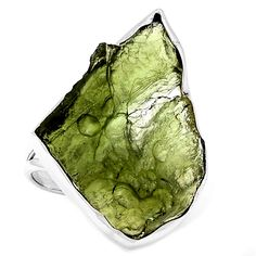Genuine Czech MOLDAVITE 925 Sterling Silver Ring Jewelry s 8 5 SR102378 | eBay