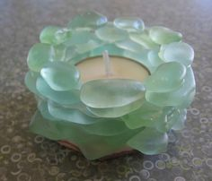 seaglass candle holder