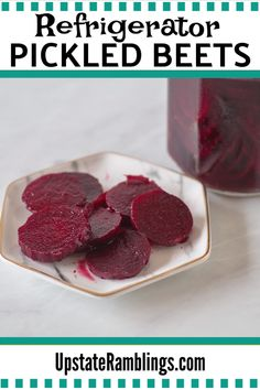 This homemade pickled beet recipe is ready to eat in hours and is a delicious way to add a sweet taste of summer to your salads. These quick refrigerator pickled beets will brighten up your table! #pickles #beets