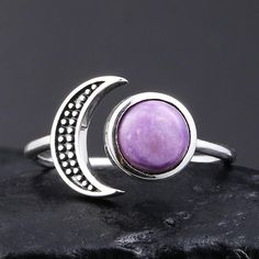 Our Amethyst Moon 925 Silver Ring is made with pure 925 Sterling Silver with the magical Amethyst stone. Sizing is adjustable.   Features: 925 Sterling Silver Natural Amethyst Vintage Re-sizable Free Shipping 925 Silver, Silver Rings, Sterling Silver, Nautical Earrings, Purple Stone Rings, Bohemian Rings, Amethyst Stone, Gemstone Rings, Gemstones