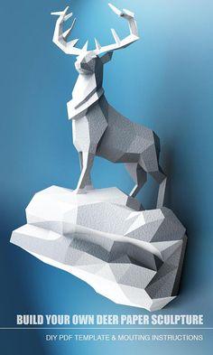 Deze koninklijke herten zullen een uniek stuk in uw huis. ongeacht de hoek van de weergave waarin u het overwegen, zijn elegant en dominante houding zal u eraan herinneren dat hij de meester van de plaats is! Maak uw eigen beeld van hert met eenvoudige brief/A4 papier vel! DIY papier